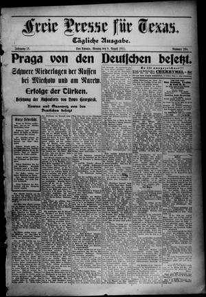 Primary view of Freie Presse für Texas. (San Antonio, Tex.), Vol. 51, No. 298, Ed. 1 Monday, August 9, 1915