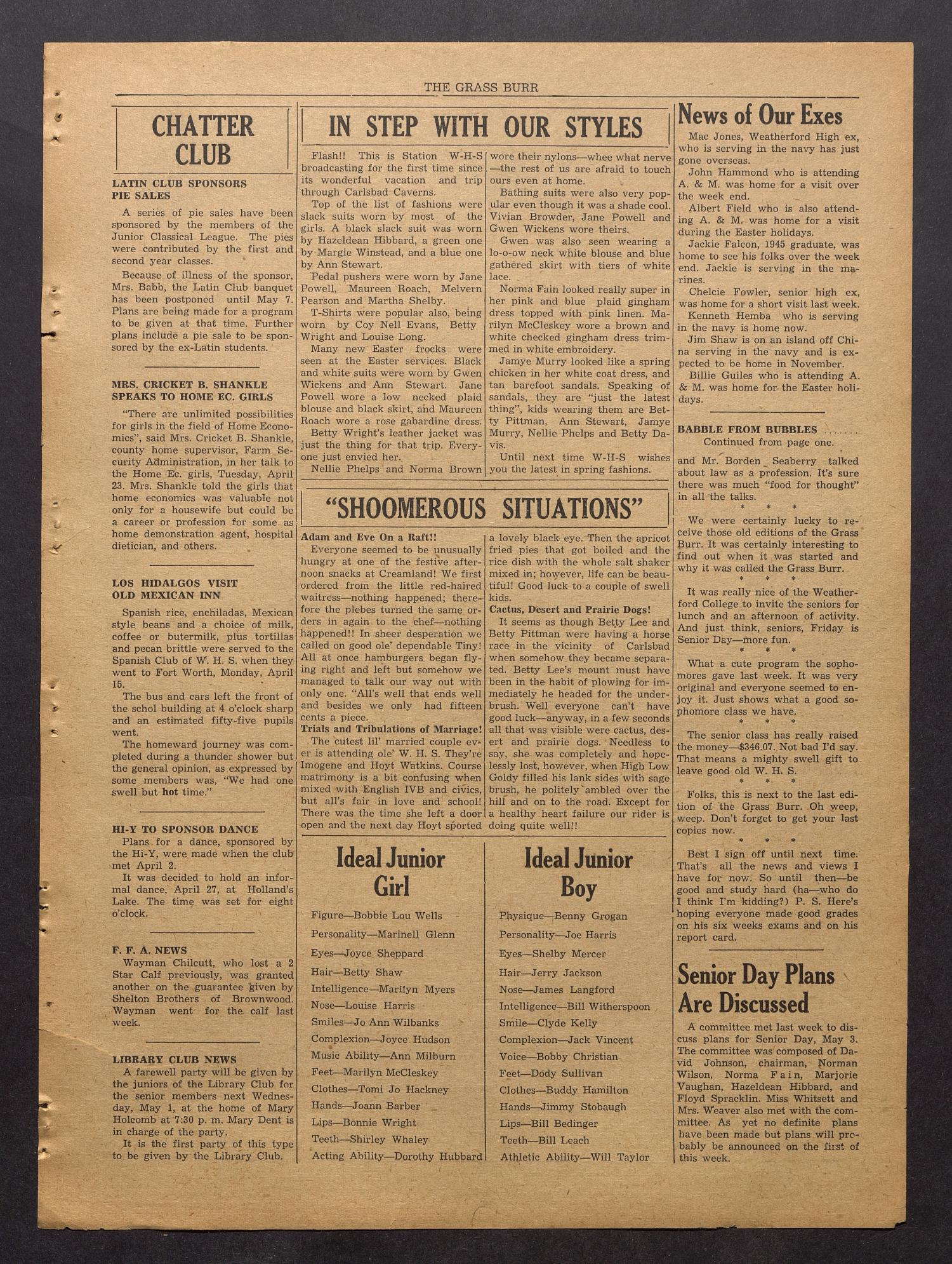 The Grass Burr (Weatherford, Tex.), No. 15, Ed. 1 Monday, April 29, 1946                                                                                                      [Sequence #]: 3 of 4
