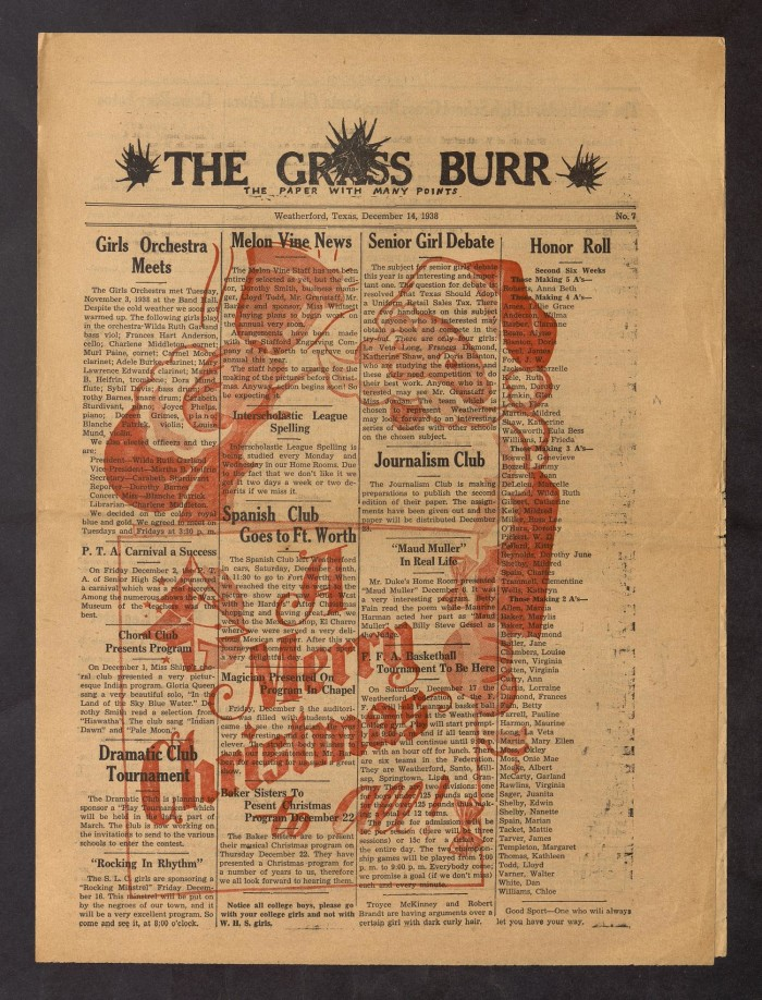 The Grass Burr Weatherford Tex No 7 Ed 1 Wednesday December