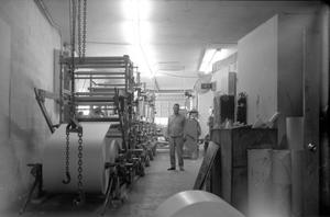 Primary view of object titled '[Machinery at Beef Packing Plant]'.