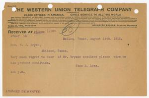 Primary view of object titled '[Telegram from Thomas B. Love to Mrs. W. J. Bryan, August 19, 1912]'.