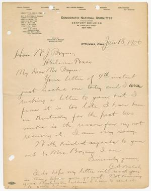 Primary view of object titled '[Letter from Charles A. Walsh to William John Bryan, January 18, 1906]'.