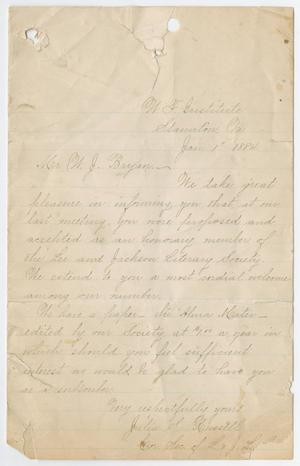 Primary view of object titled '[Letter from Julia S. Russell to W. J. Bryan, January 1, 1884]'.