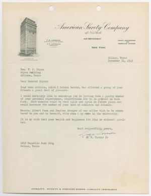 Primary view of object titled '[Letter from E. W. Turner Jr. to Honorable W. J. Bryan, December 31, 1943]'.