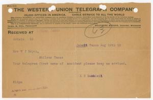 Primary view of object titled '[Telegram from L. T. Dashiell to Mrs. W. J. Bryan, August 19, 1912]'.