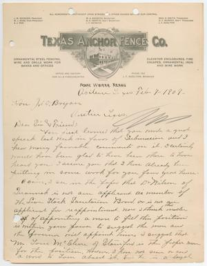 Primary view of object titled '[Letter from A. W. Weatherford to William John Bryan, February 7, 1909]'.