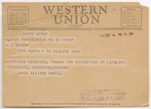 Primary view of object titled '[Telegram from Rose Allison Banks to W. J. Bryan, October 14, 1947]'.