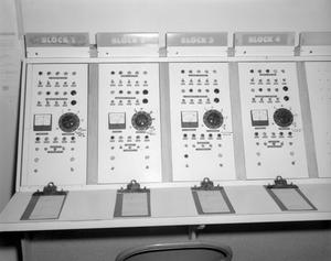 Primary view of object titled '[Control Panel at the Bravo Smokes Factory]'.