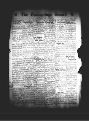 The Rocksprings Record and Edwards County Leader (Rocksprings, Tex.), Vol. 18, No. 40, Ed. 1 Friday, September 4, 1936
