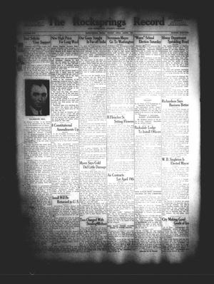 The Rocksprings Record and Edwards County Leader (Rocksprings, Tex.), Vol. 16, No. 18, Ed. 1 Friday, April 6, 1934