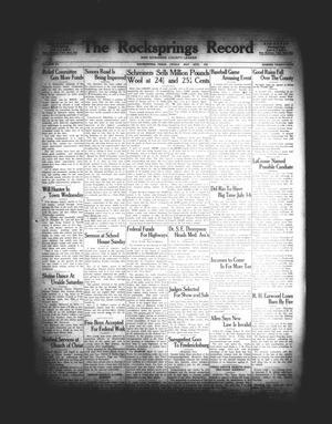 The Rocksprings Record and Edwards County Leader (Rocksprings, Tex.), Vol. 15, No. 25, Ed. 1 Friday, May 26, 1933