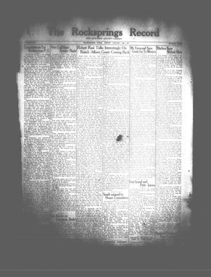 The Rocksprings Record and Edwards County Leader (Rocksprings, Tex.), Vol. 17, No. 8, Ed. 1 Friday, January 25, 1935