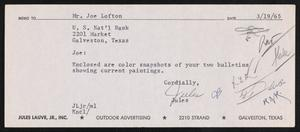 Primary view of object titled '[Letter from Jules to Joe Lofton, March 19, 1965]'.