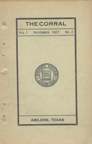 Primary view of object titled 'The Corral, Volume 1, Number 2, November, 1907'.