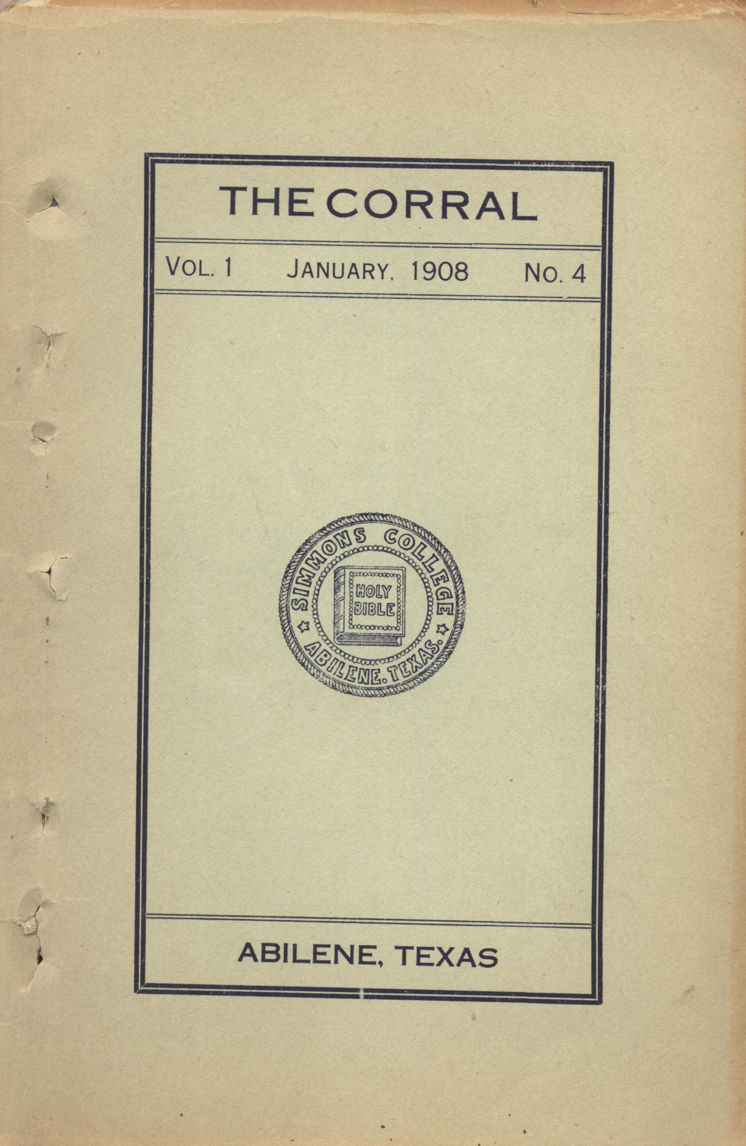 The Corral, Volume 1, Number 4, January, 1908                                                                                                      Front Cover