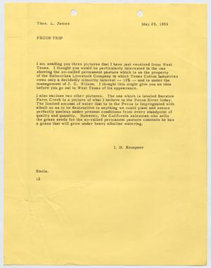 Primary view of object titled '[Letter from I. H. Kempner to Thomas L. James, May 29, 1953]'.