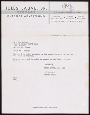 Primary view of object titled '[Letter from Marian Liolu to Joe Lofton, January 5, 1966]'.
