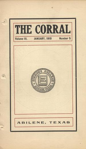 Primary view of object titled 'The Corral, Volume 3, Number 5, January, 1910'.