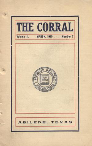 Primary view of object titled 'The Corral, Volume 3, Number 7, March, 1910'.