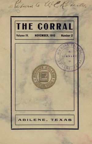 Primary view of object titled 'The Corral, Volume 4, Number 2, November, 1910'.