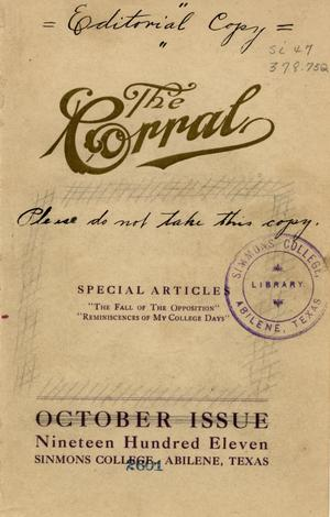 Primary view of object titled 'The Corral, October, 1911'.
