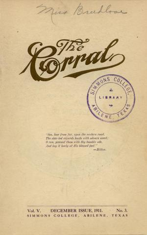 The Corral, Volume 5, Number 3, December, 1911