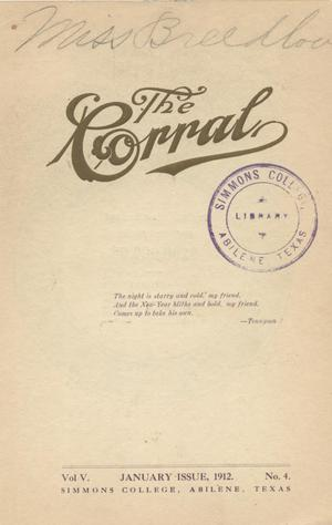 Primary view of object titled 'The Corral, Volume 5, Number 4, January, 1912'.