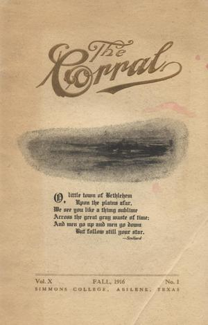 Primary view of object titled 'The Corral, Volume 10, Number 1, Fall, 1916'.