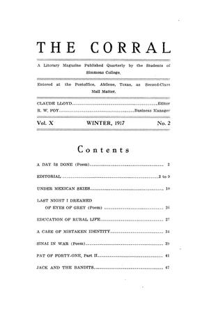 Primary view of object titled 'The Corral, Volume 10, Number 2, Winter, 1917'.