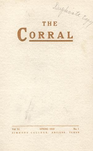 Primary view of object titled 'The Corral, Volume 11, Number 1, Spring, 1919'.