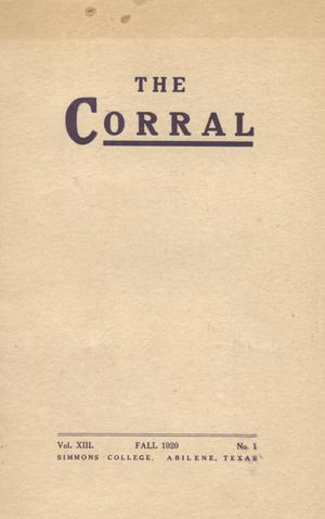 The Corral, Volume 13, Number 1, Fall, 1920