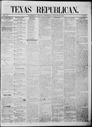 Primary view of Texas Republican. (Marshall, Tex.), Vol. 9, No. 51, Ed. 1 Thursday, August 26, 1858
