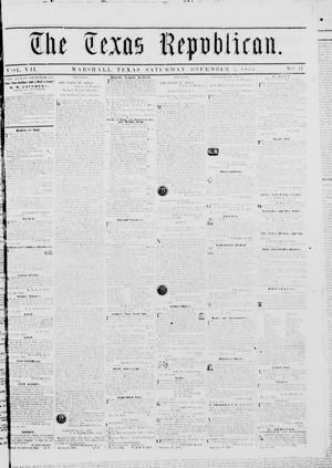 Primary view of The Texas Republican. (Marshall, Tex.), Vol. 7, No. 17, Ed. 1 Saturday, December 1, 1855