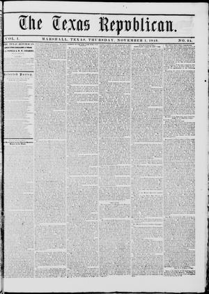 Primary view of The Texas Republican. (Marshall, Tex.), Vol. 1, No. 24, Ed. 1 Thursday, November 1, 1849
