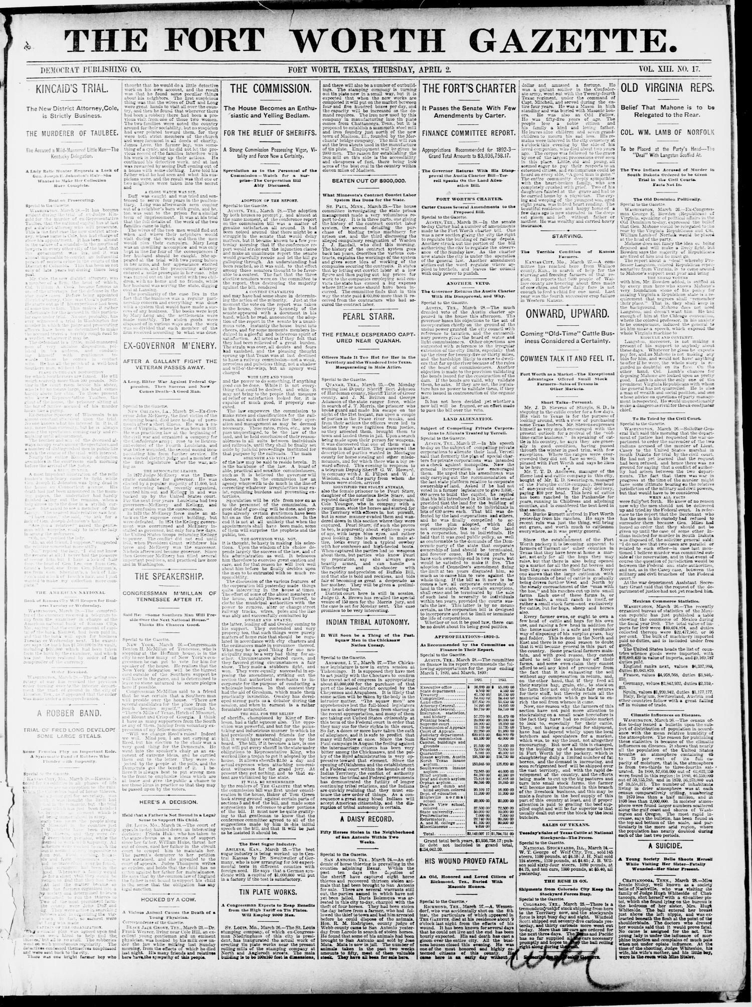 Fort Worth Gazette. (Fort Worth, Tex.), Vol. 13, No. 17, Ed. 1, Thursday, April 2, 1891                                                                                                      [Sequence #]: 1 of 20