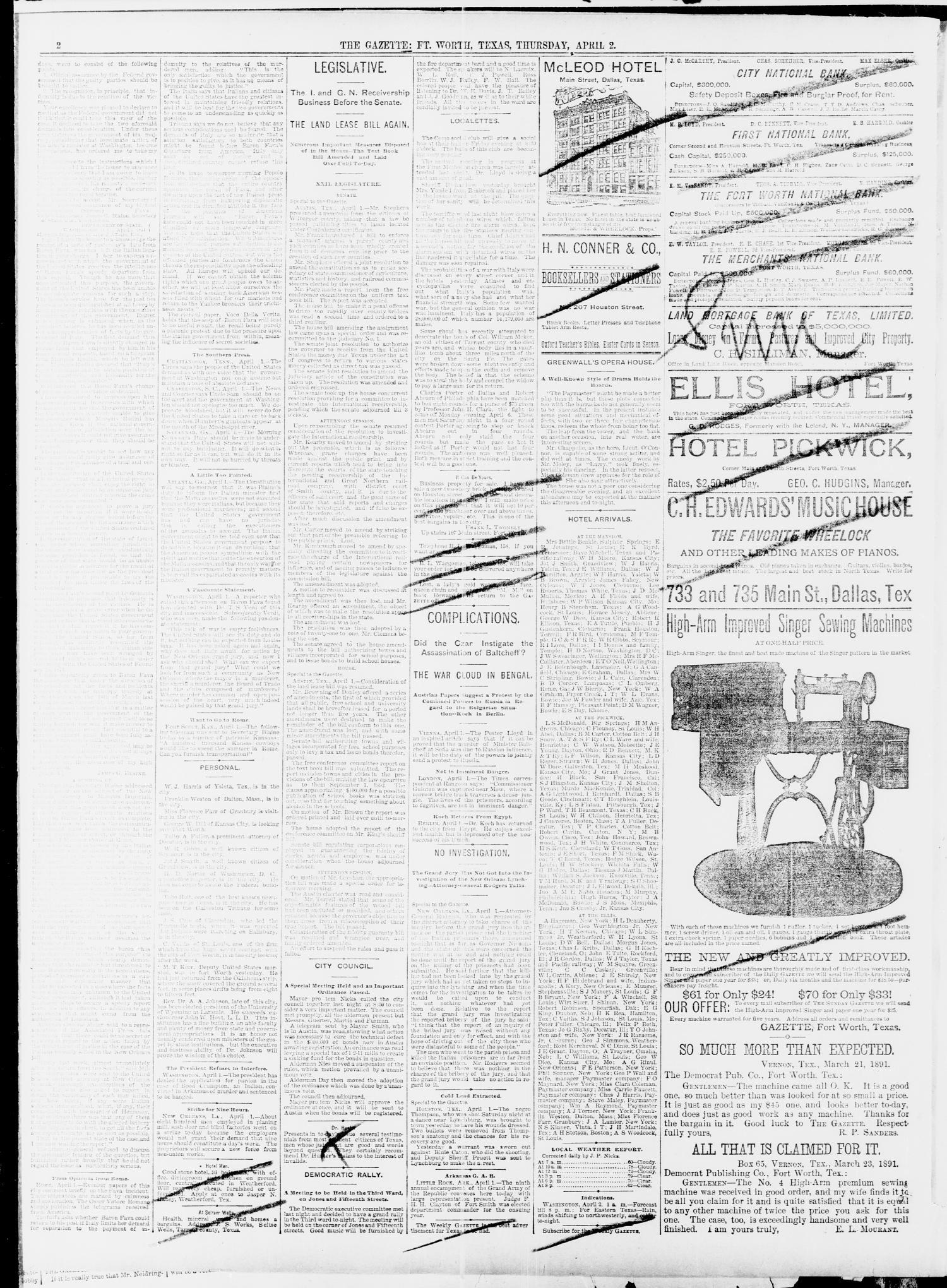 Fort Worth Gazette. (Fort Worth, Tex.), Vol. 13, No. 17, Ed ... on
