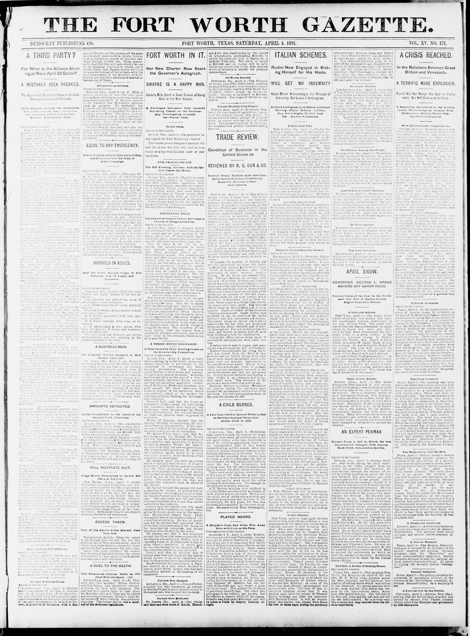 Fort Worth Gazette. (Fort Worth, Tex.), Vol. 15, No. 171, Ed. 1, Saturday, April 4, 1891                                                                                                      [Sequence #]: 1 of 8