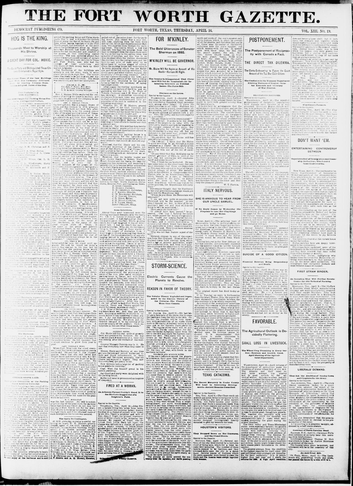 Fort Worth Gazette. (Fort Worth, Tex.), Vol. 13, No. 19, Ed. 1, Thursday, April 16, 1891                                                                                                      [Sequence #]: 1 of 20