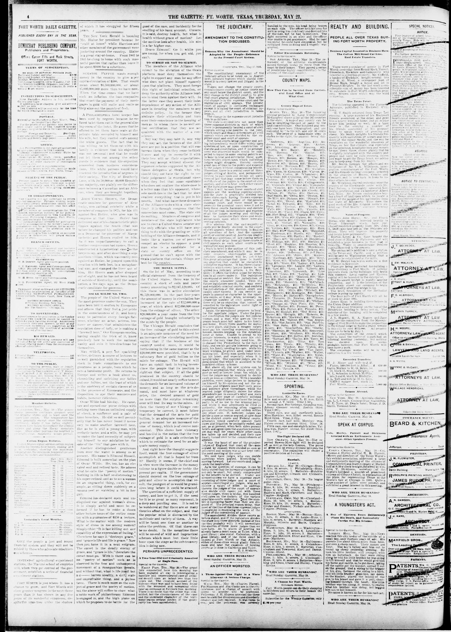 Fort Worth Gazette  (Fort Worth, Tex ), Vol  13, No  24, Ed