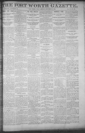 Primary view of object titled 'Fort Worth Gazette. (Fort Worth, Tex.), Vol. 16, No. 320, Ed. 1, Saturday, September 24, 1892'.