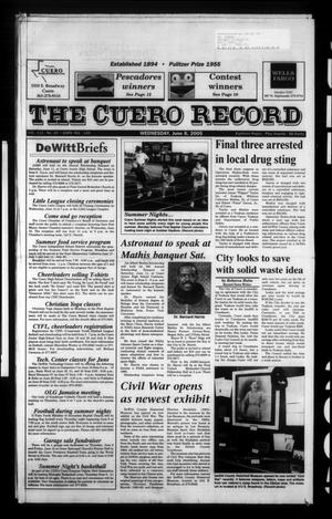 Primary view of object titled 'The Cuero Record (Cuero, Tex.), Vol. 111, No. 23, Ed. 1 Wednesday, June 8, 2005'.