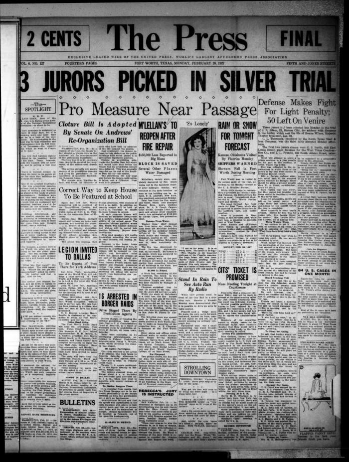 The Press (Fort Worth, Tex ), Vol  6, No  127, Ed  1 Monday