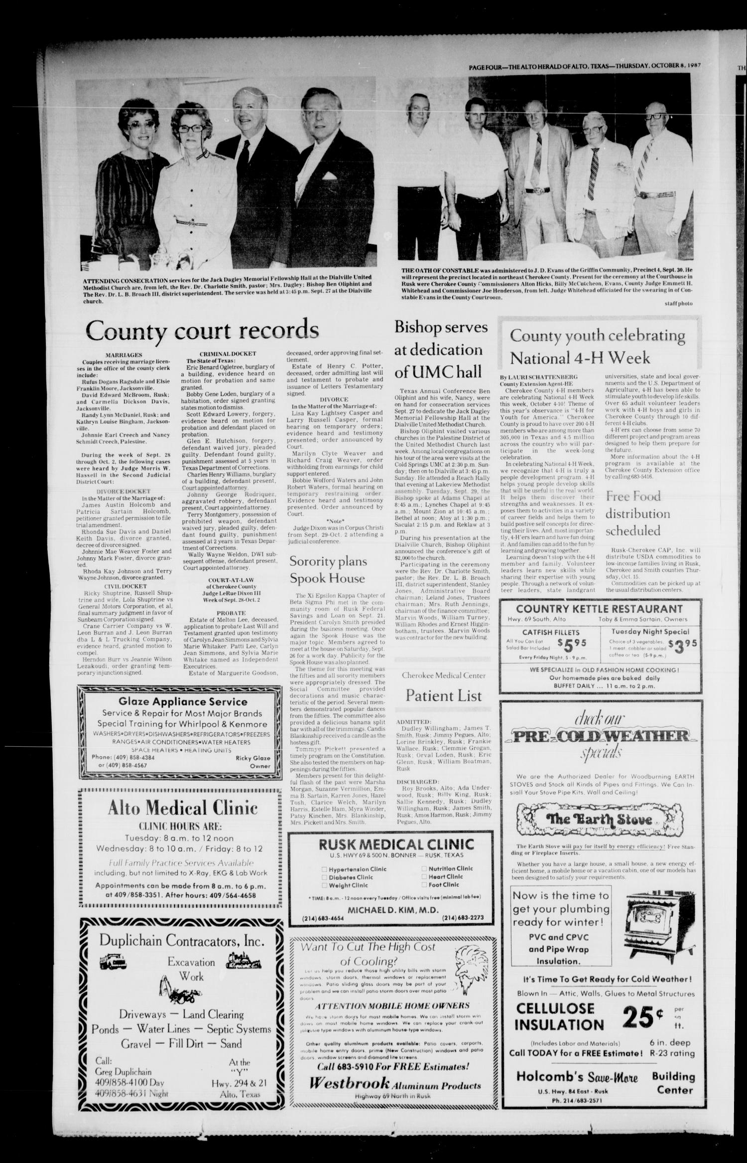 The Alto Herald and The Wells News 'N Views (Alto, Tex.), Vol. 92, No. 22, Ed. 1 Thursday, October 8, 1987                                                                                                      [Sequence #]: 4 of 8