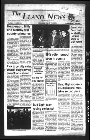 The Llano News (Llano, Tex.), Vol. 102, No. 22, Ed. 1 Thursday, March 19, 1992