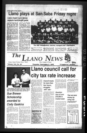 The Llano News (Llano, Tex.), Vol. 104, No. 46, Ed. 1 Thursday, September 3, 1992
