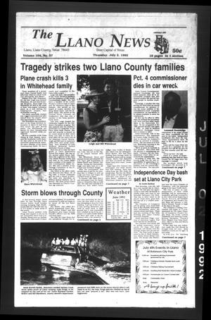 The Llano News (Llano, Tex.), Vol. 104, No. 37, Ed. 1 Thursday, July 2, 1992