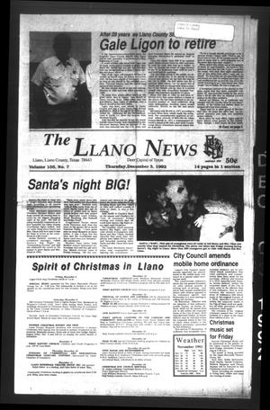 The Llano News (Llano, Tex.), Vol. 105, No. 7, Ed. 1 Thursday, December 3, 1992