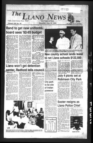 The Llano News (Llano, Tex.), Vol. 104, No. 35, Ed. 1 Thursday, June 18, 1992