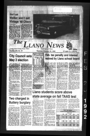 The Llano News (Llano, Tex.), Vol. 102, No. 18, Ed. 1 Thursday, February 20, 1992
