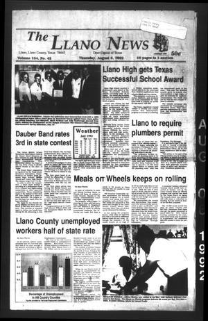 The Llano News (Llano, Tex.), Vol. 104, No. 42, Ed. 1 Thursday, August 6, 1992